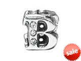 "Zable™ Sterling Silver Cz Initial ""B"" Bead / Charm style: BZ1828"