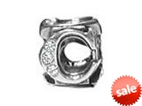 "Zable™ Sterling Silver Cz Initial ""C"" Bead / Charm style: BZ1829"