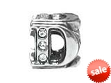 "Zable™ Sterling Silver Cz Initial ""D"" Bead / Charm style: BZ1830"