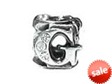 "Zable™ Sterling Silver Cz Initial ""G"" Bead / Charm style: BZ1833"
