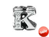 "Zable™ Sterling Silver Cz Initial ""K"" Bead / Charm style: BZ1837"