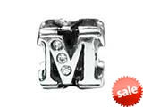 "Zable™ Sterling Silver Cz Initial ""M"" Bead / Charm style: BZ1839"