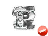 "Zable™ Sterling Silver Cz Initial ""P"" Bead / Charm style: BZ1842"