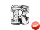 "Zable™ Sterling Silver Cz Initial ""R"" Bead / Charm style: BZ1844"