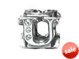 "Zable™ Sterling Silver Cz Initial ""U"" Bead / Charm style: BZ1847"