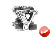 "Zable™ Sterling Silver Cz Initial ""V"" Bead / Charm style: BZ1848"