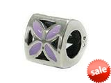 Zable™ Sterling Silver Tri Flower Lavendar Bead / Charm style: BZ1904