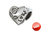 Zable™ Sterling Silver Heart W/rose and Love Pandora Compatible Bead / Charm style: BZ2090