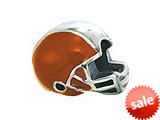 Zable™ Sterling Silver Orange Football Helmet Bead / Charm