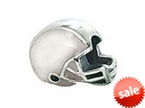 Zable™ Sterling Silver Football Helmet, White Bead / Charm