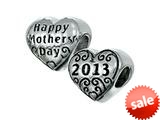Zable™ Sterling Silver Happy Mothers Day 2013 Pandora Compatible Bead / Charm style: BZ2273