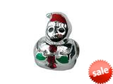 Zable™ Sterling Silver Snowman with Enamel and Crystals  Bead / Charm