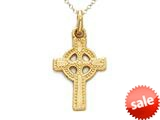 14kt Yellow Gold Small Celtic Cross Pendant - Chain Included style: CG12862