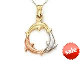 14kt Tricolor Gold 3 Dolphin Pendant - Chain Included style: CG14678