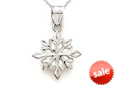 14kt White Gold Snowflake Pendant Necklace - Chain Included style: CG16219