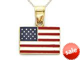 14kt Yellow Gold Enamel United States Flag - Chain Included style: CG16304