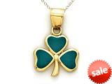 14kt Yellow Gold Green Enamel 3 Leaf Clover Shamrock Pendant - Chain Included style: CG16454
