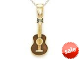 14kt Yellow Gold Brown Enamel Guitar Pendant - Chain Included style: CG16532