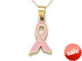 14kt Yellow Gold Enamel Pink Ribbon Pendant Necklace - Chain Included style: CG16806