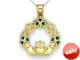 14kt Yellow Gold Enamel Celtic Claddaugh Pendant - Chain Included style: CG16840