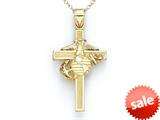 14kt Yellow Gold Large US Marine Corp Cross Pendant - Chain Included style: CG17121