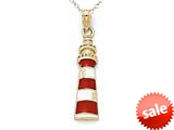 14kt Yellow Gold Red and White Enamelled Lighthouse Pendant - Chain Included style: CG17325
