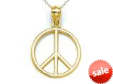 14kt Yellow Gold Peace Sign Pendant - Chain Included style: CG17364