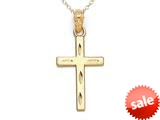 14kt Yellow Gold Large Diamond Cut Cross Pendant - Chain Included style: CG17417