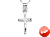 14kt White Gold Small Diamond Cut Cross Pendant - Chain Included style: CG17418