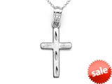 14kt White Gold Medium Diamond Cut Cross Pendant - Chain Included style: CG17419