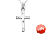 14kt White Gold Large Diamond Cut Cross Pendant - Chain Included style: CG17420