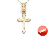 14kt Yellow Gold Extra Small Diamond Cut Cross Pendant - Chain Included style: CG17421