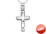 14kt White Gold Small Bright Cut Beaded Cross Pendant - Chain Included style: CG17425