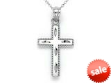 14kt White Gold Bright Cut Beaded Cross Pendant - Chain Included style: CG17426B