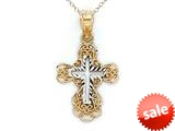 14kt Yellow Gold Small Fancy Cross Pendant - Chain Included style: CG17427