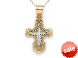 14kt Yellow Gold Medium Fancy Cross Pendant Necklace - Chain Included style: CG17428