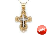 14kt Yellow Gold Large Fancy Cross Pendant - Chain Included style: CG17429
