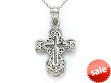 14kt White Gold Small Fancy Cross Pendant - Chain Included style: CG17430