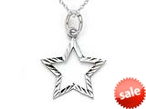 14kt White Gold Small Diamond Cut Star Charm Pendant - Chain Included style: CG17453
