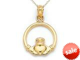 14kt Yellow Gold Small Claddagh Pendant - Chain Included style: CG17474