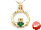 14kt Yellow Gold Small Claddagh Pendant Necklace with Simulated Emerald - Chain Included style: CG17480