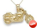 14kt Yellow Gold Large Motorcycle Pendant Necklace - Chain Included style: CG17496