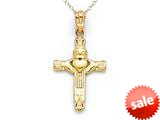14kt Yellow Gold Small Claddagh Cross Pendant - Chain Included style: CG17499