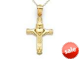 14kt Yellow Gold Medium Claddagh Cross Pendant - Chain Included style: CG17500
