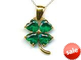 14kt Yellow Gold 4 Leaf Clover Pendant with Simulated Emerald - Chain Included style: CG17503