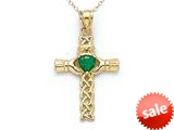 14kt Yellow Gold Claddagh Cross Pendant with Simulated Emerald Heart - Chain Included style: CG17505