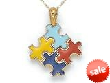 14kt Yellow Gold Enamel Autism Puzzle Charm Pendant - Chain Included style: CG17547
