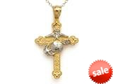 14kt Two Tone Large Fancy Marine Cross Pendant Necklace - Chain Included style: CG17568