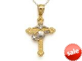 14kt Two Tone Gold Small Fancy Marine Cross Pendant - Chain Included style: CG17572