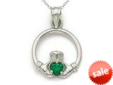 14kt White Gold  Small Claddagh Pendant with Simulated Emerald - Chain Included style: CG17605